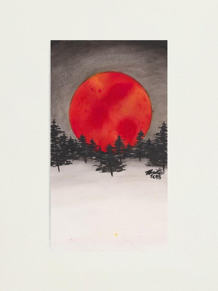 PRINT Bloody moon watercolor