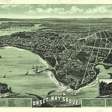 Vintage Pictorial Map of Onset Bay MA (1885) by BravuraMedia