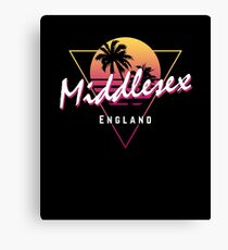 Funny 80s Retro Sunset 'Middlesex' England Canvas Print