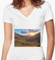 Lanzarote, Femes road at sunset Women's Fitted V-Neck T-Shirt