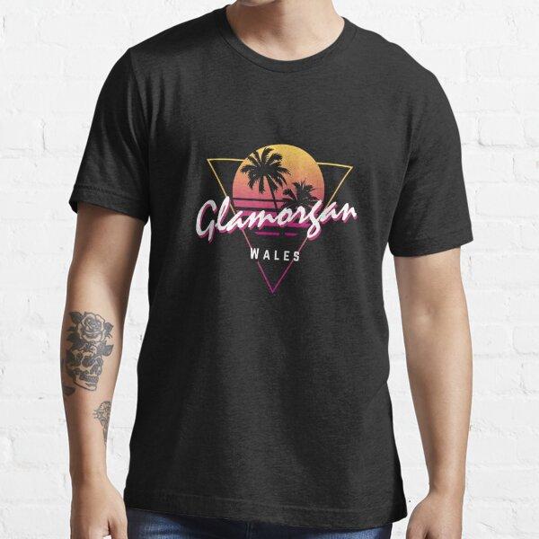 Funny 80s Retro Sunset 'Glamorgan' Wales Essential T-Shirt
