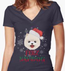 Pomeranian Christmas Feliz Navidog Women's Fitted V-Neck T-Shirt