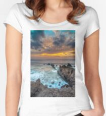 Volcanic rocks at sunset Women's Fitted Scoop T-Shirt