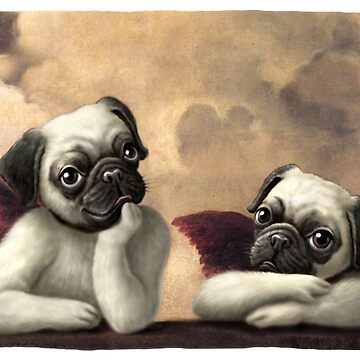 Twin Winged Pug Cherub Puppies by MudgeStudios