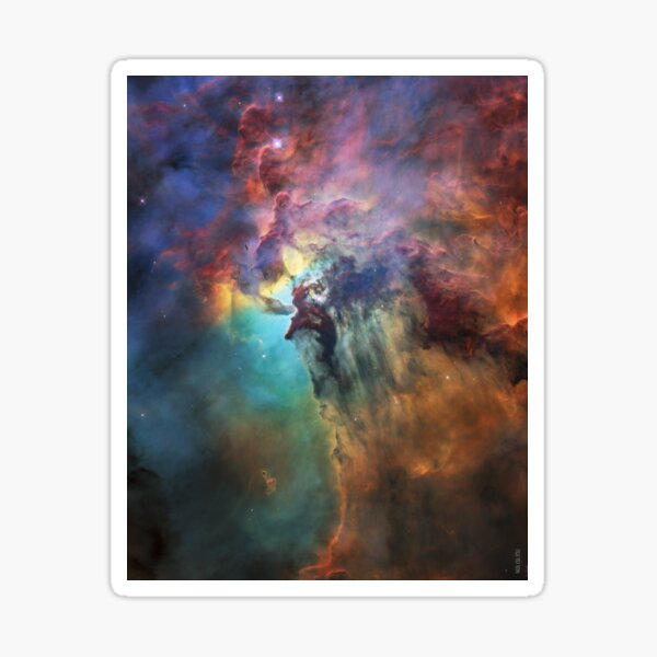 Lagoon Nebula Messier 8 M8 Interstellar Cloud Pastel pink, turquoise and yellow stars NASA Hubble Space Telescope 28th birthday picture Picture HD HIGH QUALITY Sticker