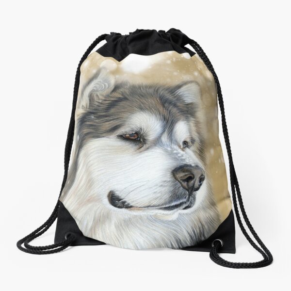 Alaskan Malamute - Old Gold Drawstring Bag