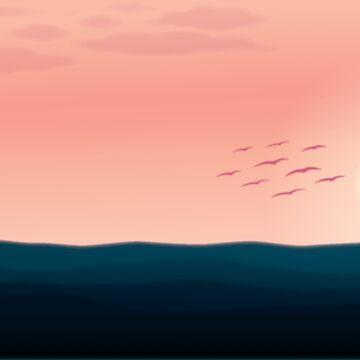 Contrast Ocean Sunset  by EthanDecker