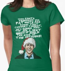 Griswold alternative Christmas card Women's Fitted T-Shirt