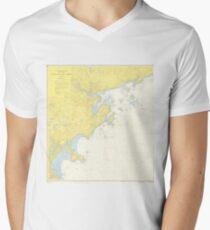 Vintage Map of North Shore Massachusetts (1957) Men's V-Neck T-Shirt