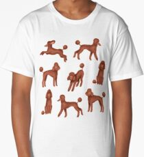 Chocolate Poodles Pattern (Pink Background) Long T-Shirt