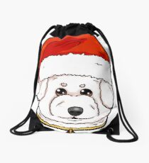 Bichon Frise Dog Christmas Hat Present Drawstring Bag