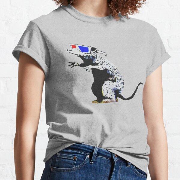 Banksy Ratte mit 3D-Brille Kunstwerk, Street Art, Design für Poster, Drucke, T-Shirts, Männer, Frauen, Kinder Classic T-Shirt