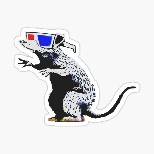 Banksy Rat With 3D Glasses Artwork, Street Art, Design For Posters, Prints, Tshirts, Men, Women, Kids Sticker