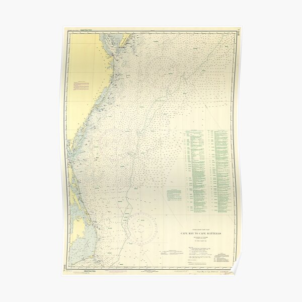 Vintage Cape May to Cape Hatteras Shipwrecks Map Poster