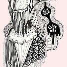Pink doodle art monster by Leanne Davidson-Watt