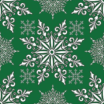 Holiday Snowflake Pattern #1 on Green Background by LaRoach