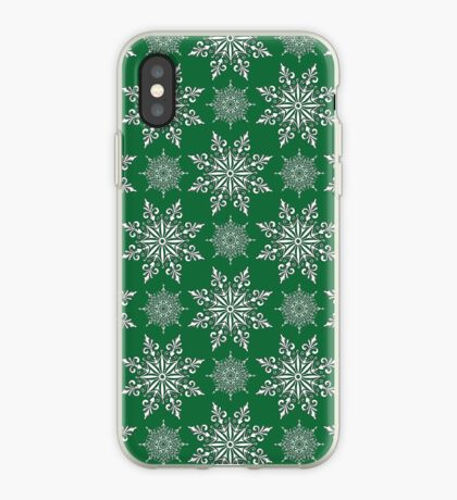 Holiday Snowflake Pattern #2 on Green Background iPhone Case