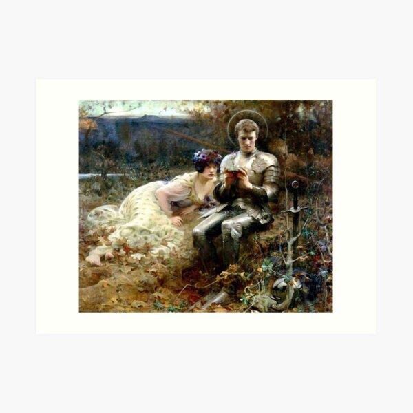 The Temptation of Sir Percival - Arthur Hacker Art Print