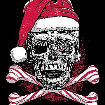 Xmas Skull with Santa Hat Candy Cane Crossbones by MudgeStudios