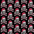 Xmas Skull with Santa Hat Candy Cane Crossbones by MudgeStudios