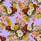 Chrysanthemums Floral Pattern on Lavender Purple by tanjica