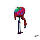 Stooped Over Flamingo In Abstract by KirtTisdale
