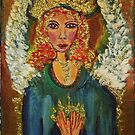 Angel spreading love  acrylic  5x7 by eoconnor