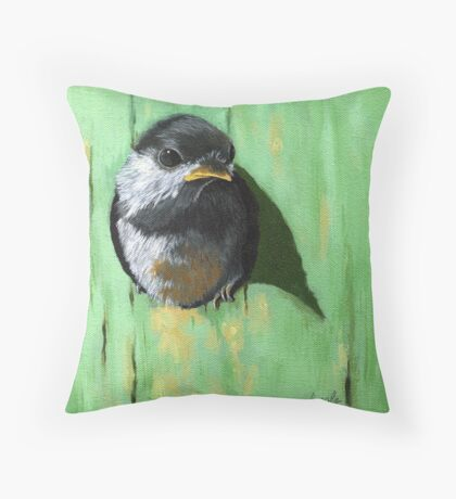 A Bright New Day- baby chickadee Throw Pillow