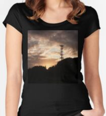 Mobile signal tower at sunset Women's Fitted Scoop T-Shirt