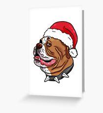 Bulldog Christmas Hat Present French English Greeting Card