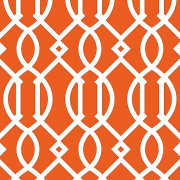 Trellis,modern,trendy,pattern,girly,orange,white by love999