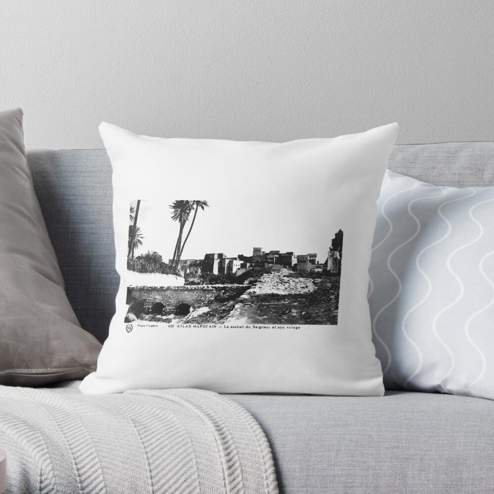 Vintage 1920s Travel Postcard Morocco Throw Pillow