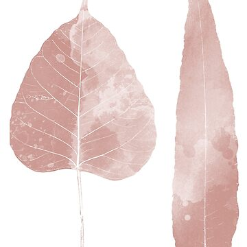 Pink Watercolour Leaves by UrbanEpiphany