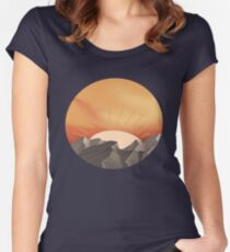 Sunset over mountains Women's Fitted Scoop T-Shirt
