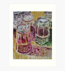 Tea glasses, watercolor on yupo paper Art Print