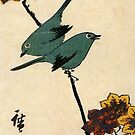 Birds On A Maple Branch by Utagawa Hiroshige (Reproduction) by Roz Abellera