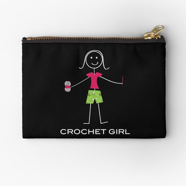 Funny Womens Crochet Girl Illustration Zipper Pouch