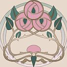 Pink Art Nouveau Roses by Aakheperure