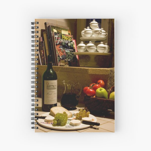 Un verre de vin rouge?  A glass of red wine? Spiral Notebook