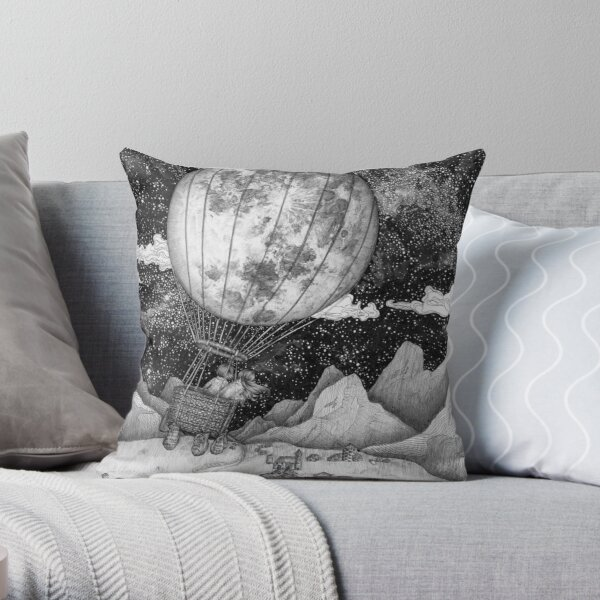 Moon Balloon Throw Pillow