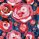 Seamless bright pattern of red roses  by Tanor