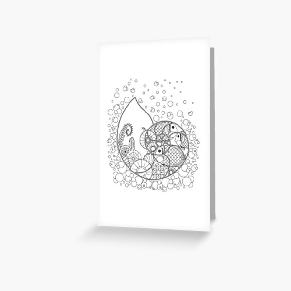 Fantasy Nautilus Underwater Scene with Tropical Fish and Plants Greeting Card