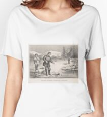 Vintage Illustration of Ice Fishing (1872) Women's Relaxed Fit T-Shirt