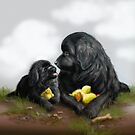 Daddy and Little Newfie by Patricia Reeder Eubank