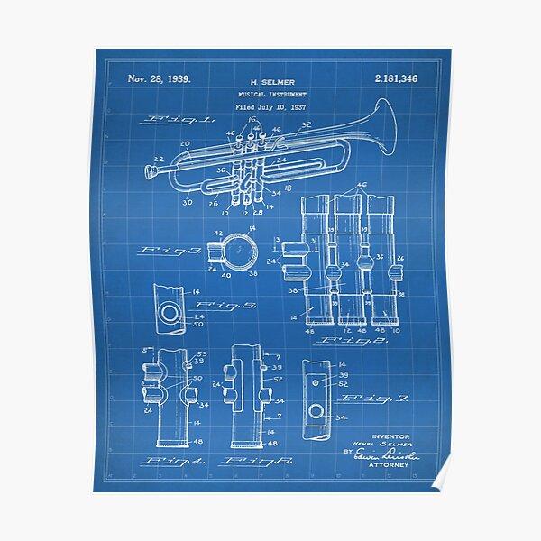 Selmer Trumpet Patent - Trumpet Art - Blueprint Poster