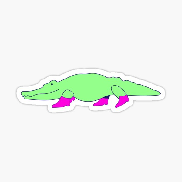 Gator in Fashionable Pink Boots Sticker