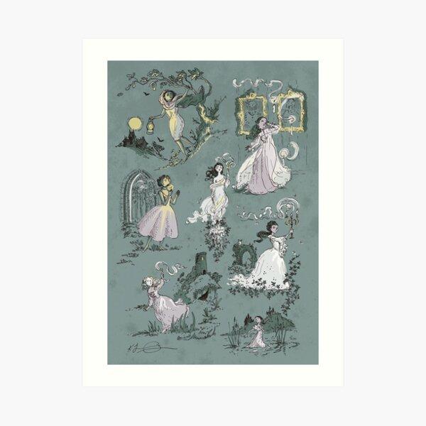 Girls Running From Houses Art Print