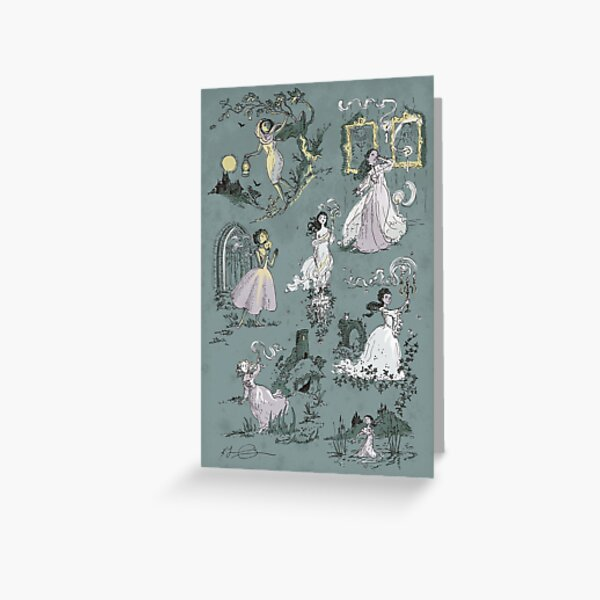 Girls Running From Houses Greeting Card