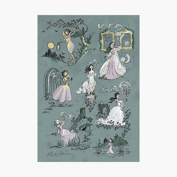 Girls Running From Houses Photographic Print