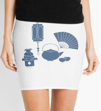 Chinese lantern, kettle, cups, fan, kagami mochi. Mini Skirt